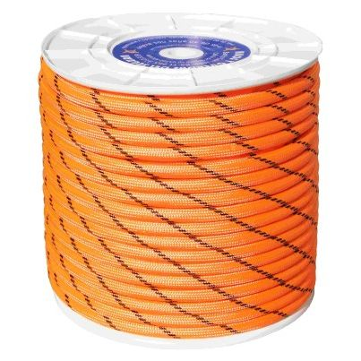 CUERDA NYLON DOBLE TRENZA ESCALADA 12MM NJA/NEG CARRETE 100M