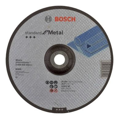 DISCO CORTE METAL CONCAVO 230X3X22,23MM 2608603162 BOSCH