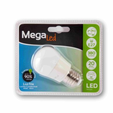 LAMPARA ESFERICA LED E27 4,5W 380LM 4000K MATE