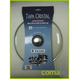 TAPA CRISTAL ARO INOX CON VALVULA 24CM
